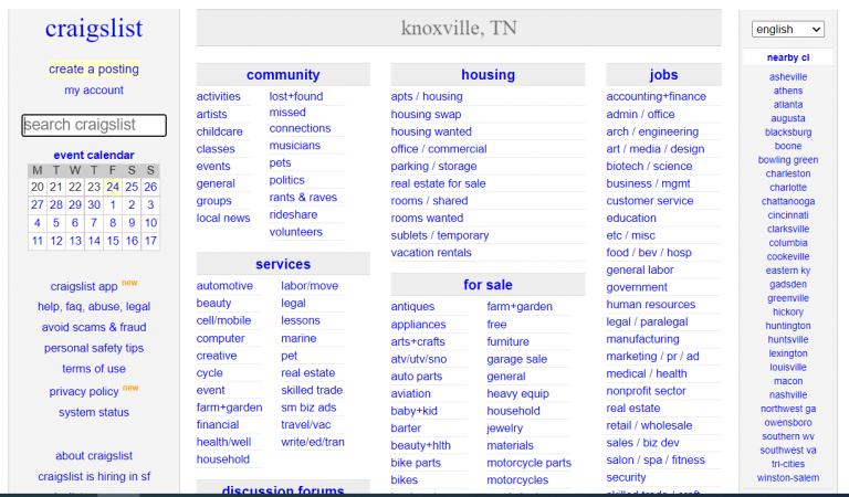 craigslist knoxville